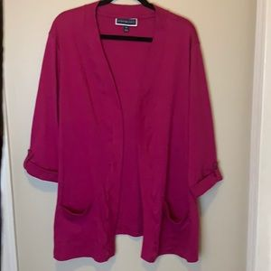 Karen Scott Cotton 3/4 Sleeve Cardigan